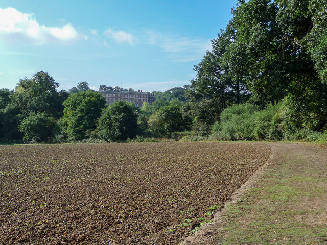 Farmland with  Trent Park House in the distance