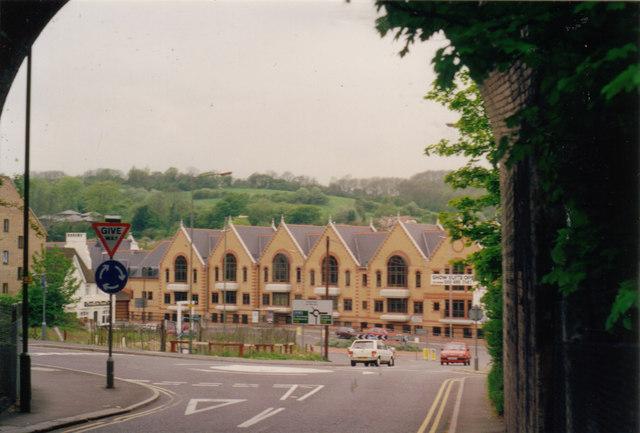The A22 from under the railway bridge on Hillbury Road c1993