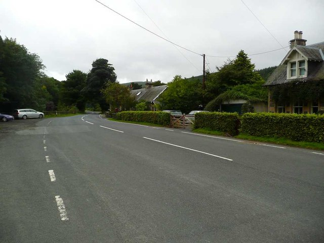 Yarrowford and car park on the left