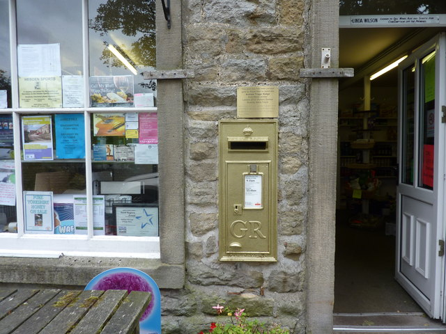 Gold painted post-box, Hebden