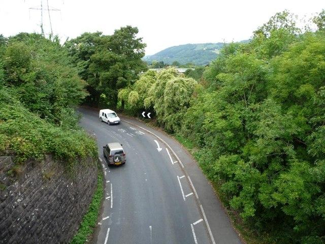 B4246 passing under the former railway near Govilon