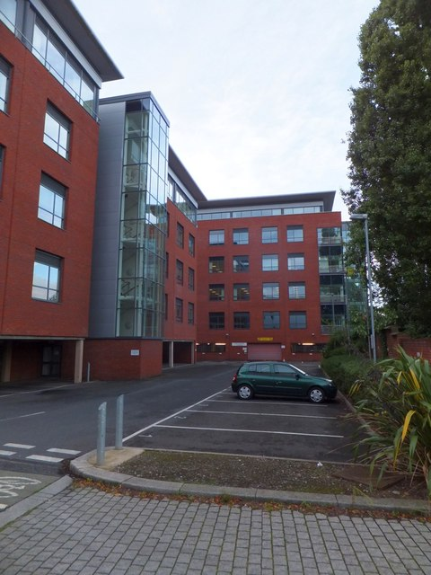 Modern offices and their car park, Exeter
