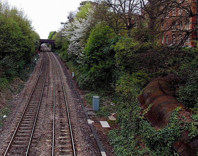 Railway north of Great Malvern station