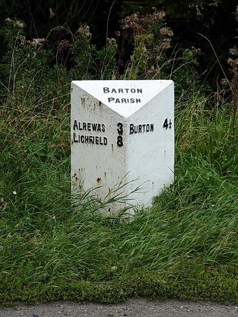 The Barton Parish milepost - detail