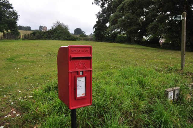 Powderham : Postbox & Grassland