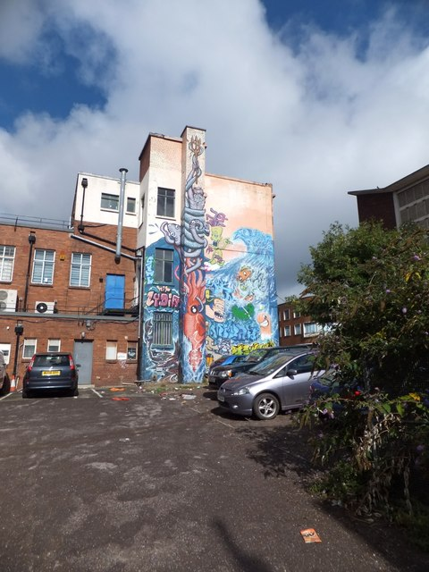 Private car park and mural, Market Street, Exeter