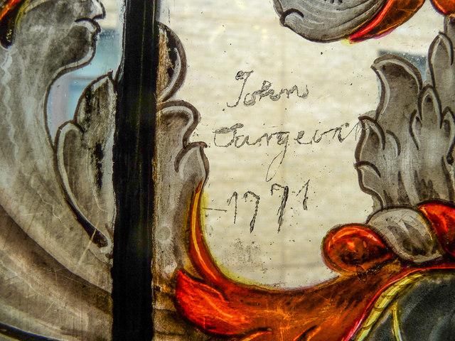 Early Graffiti on Stained Glass Window, Cutlers Hall, Warwick Lane, London EC2