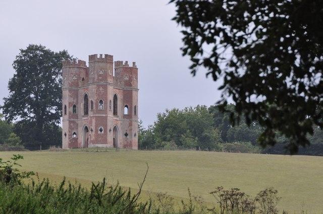Powderham : Grassy Field & Belvedere