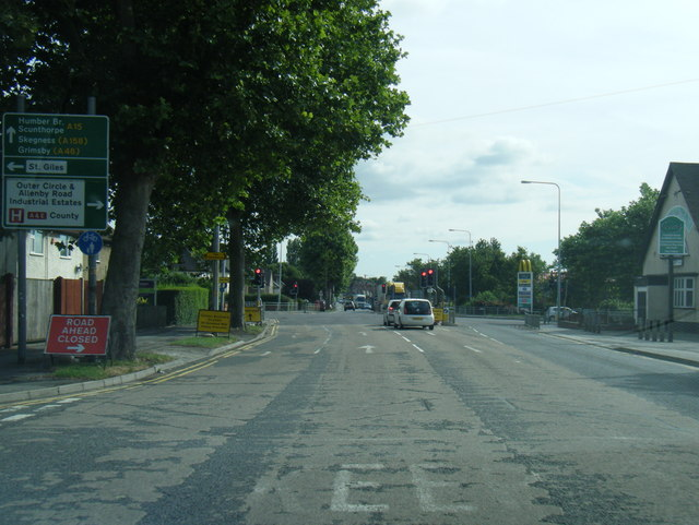 A15 Wragby Road nears Outer Circle Drive