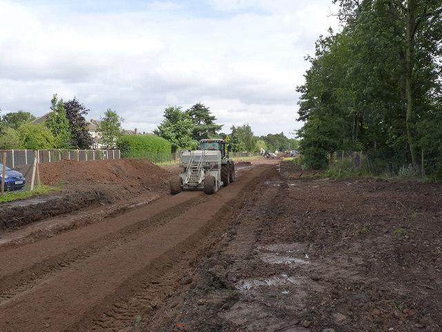 Preparing the track bed, Bramcote Lane tram stop