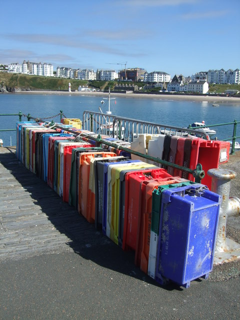 Assorted fish boxes, Port Erin