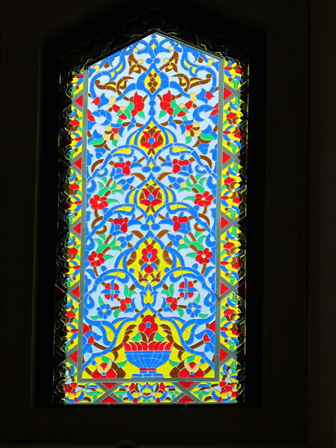Oxford Centre for Islamic Studies, stained glass in mosque