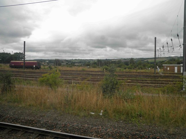 Rail sidings alongside the East Coast main line south of Gateshead