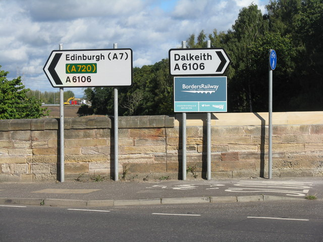 Road signs on the Old Dalkeith Road [A6106]