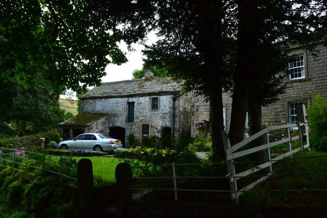 Old houses below yew trees, Thorpe