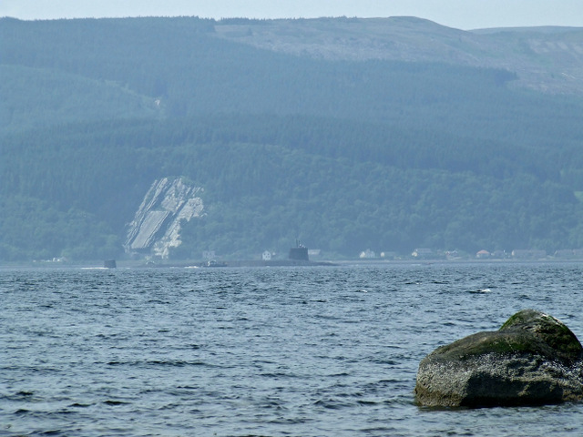 Submarine and escort in the Firth of Clyde