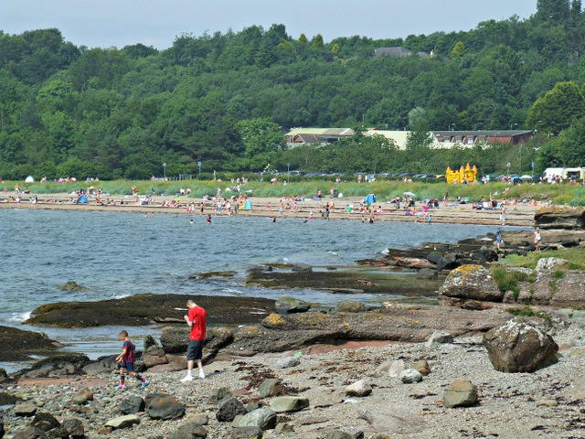 Sunbathers at Lunderston Bay