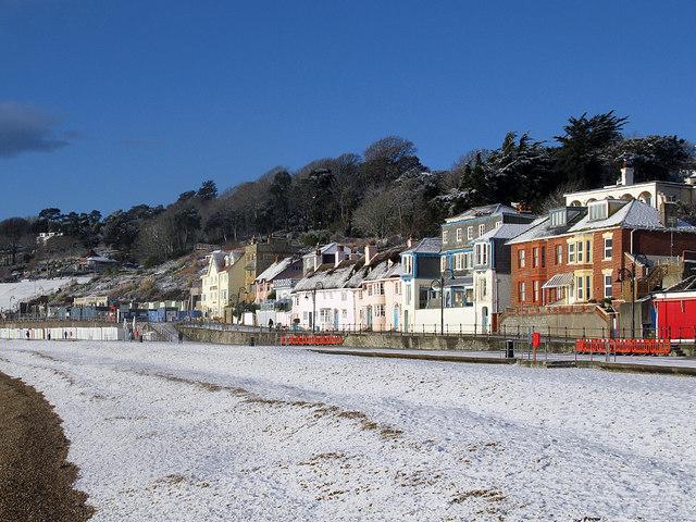 Lyme Regis beach in winter