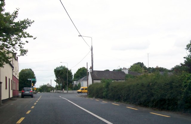 Approaching the cross roads at the centre of Clonmellon