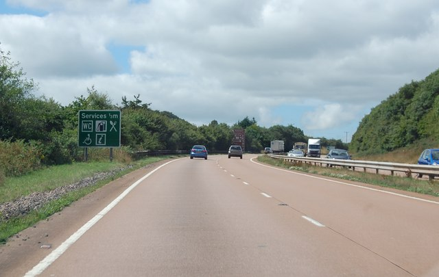 A30 westbound, Services one third of a mile