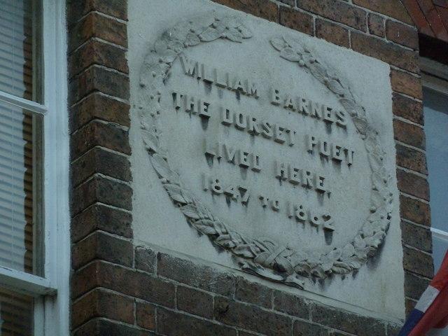 William Barnes plaque, 40 South Street
