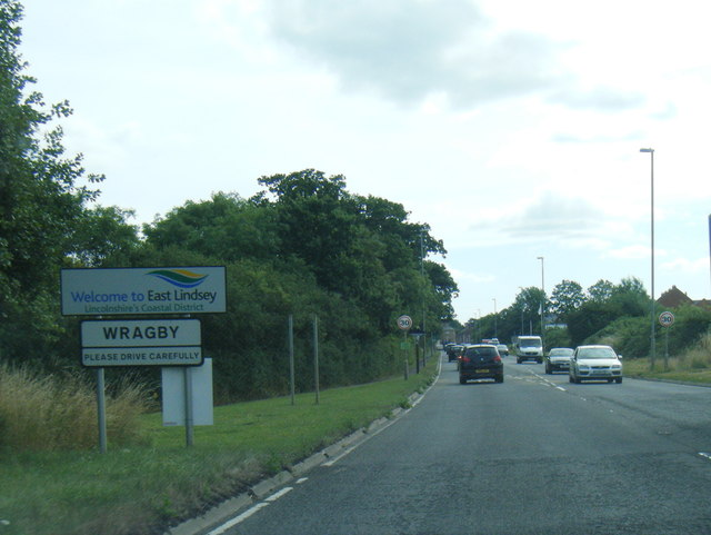 A158 at Wragby village boundary and East Lindsey district boundary