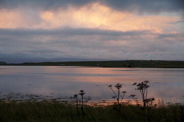 Evening light over the voe at Baltasound