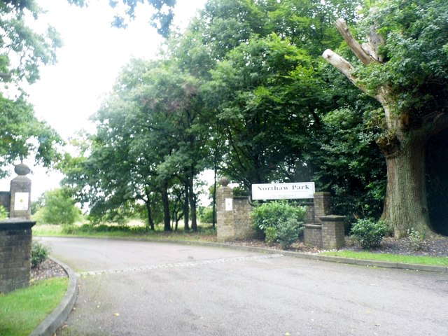 The entrance to Northaw Park on Coopers Lane Road