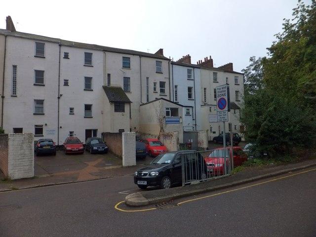 Rear elevations of buildings in Heavitree Road, Exeter