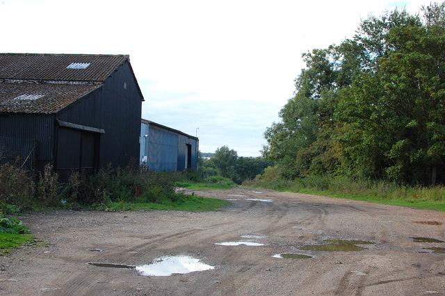 Track and barns near Navestock church