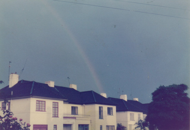 Rainbow over Ossulton Way, 1975