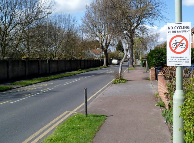 No cycling on the pavement in Tuffley Avenue Gloucester