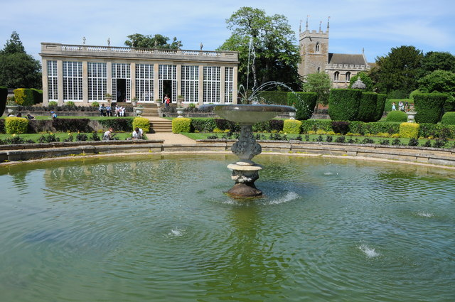 Fountain in the gardens of Belton House