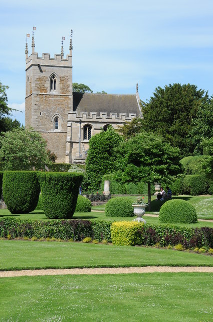 Belton church viewed from the gardens of Belton House