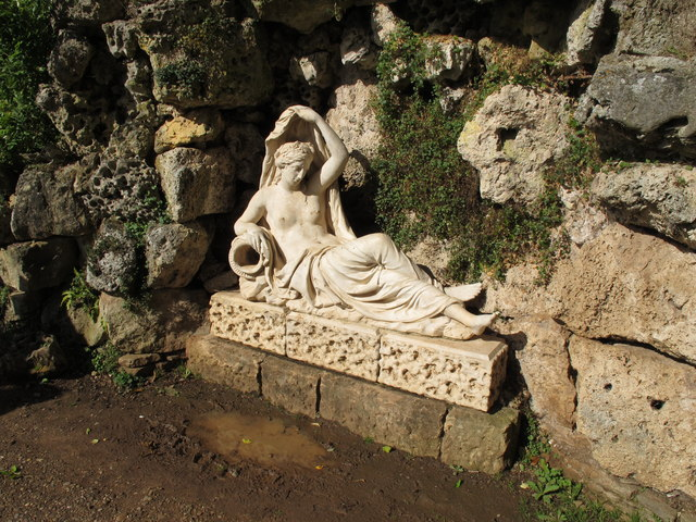 Croome Park grotto,  sculpture of goddess Sabrina