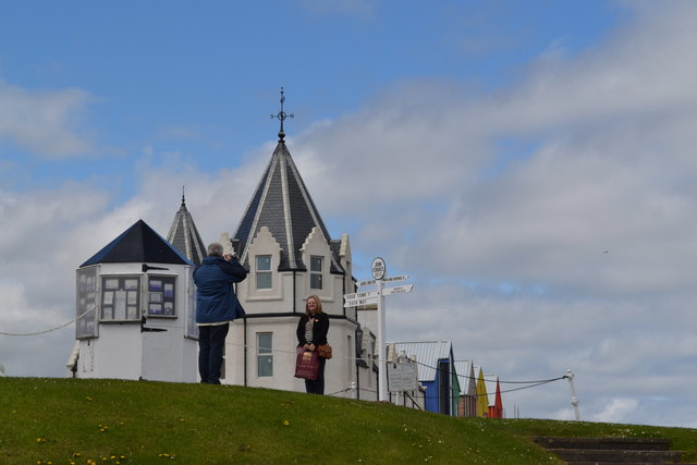 Tourists at the Sign Post, in front of the Hotel and Self-Catering Apartments at John O'Groats