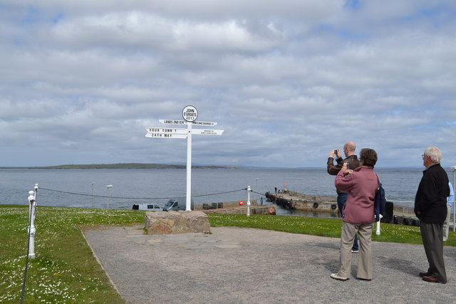 The Sign Post and Tourists at John O'Groats, Wick, Caithness