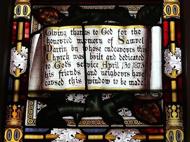 Dedication, Martin window, Hanley Swan church