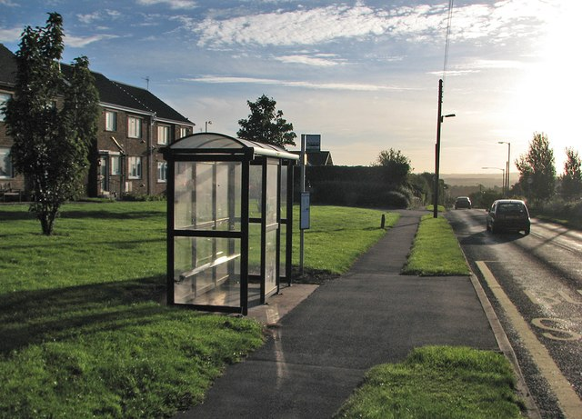 Bus stop at Pelton Fell