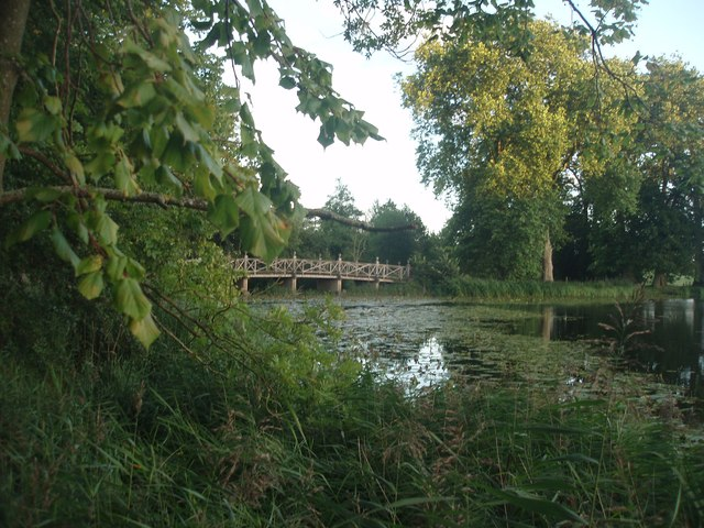The Chinese Bridge across the upper lake at Wimpole Hall