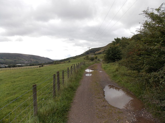 Puddles on a track south of Roundhouse Farm Nantyglo