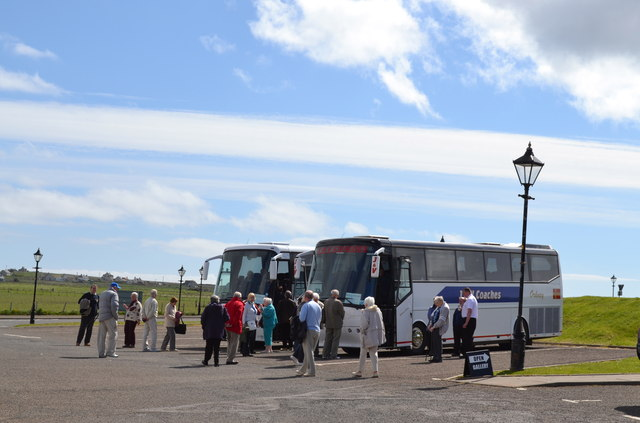 Coaches from P&O's Adonia, parked at John O'Groats