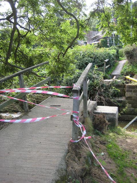 Footbridge  (2) washed away