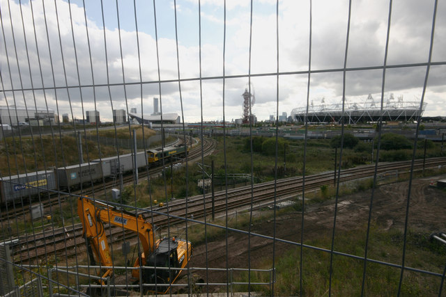View of railway lines from Westfield Avenue, London E20
