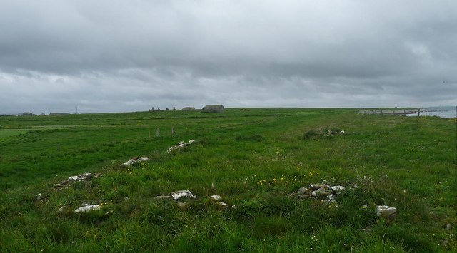 Enclosure footings near Seater, Sanday, Orkney