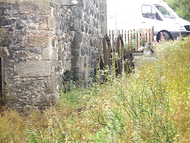 North wall of old mill, with mill wheels