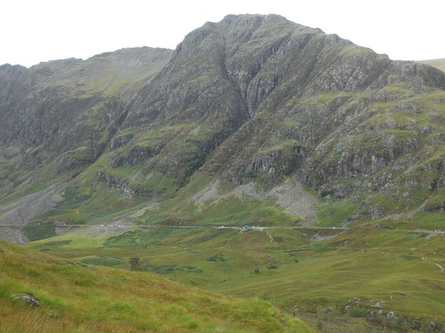 View across Glen Coe from path by Allt Coire Gabhail