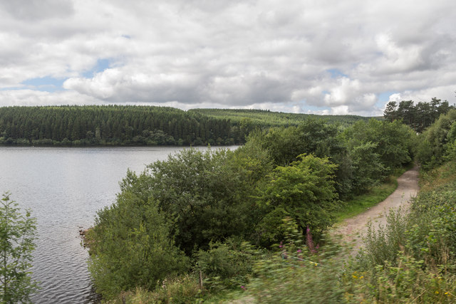 Path beside Pontsticill Reservoir from the Brecon Mountain Railway