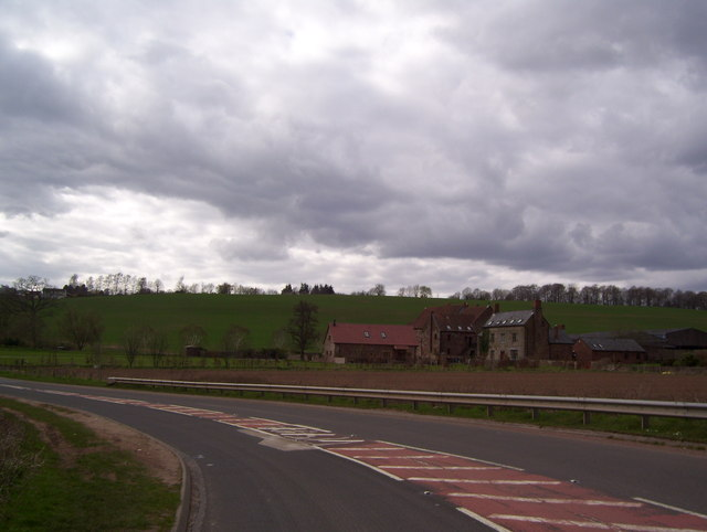 The B4229 and Flanesford Priory and farm