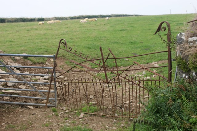 Dilapidated field gate near Pen-lan-Mabws